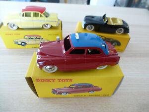 Dinky toys atlas - lot de 3 véhicules : 544 Simca aronde P60, 244t Simca aronde