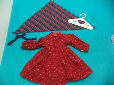 American Girl - Kirsten Red School Dress, Plaid Shawl, Blue Ribbons & Hanger GUC