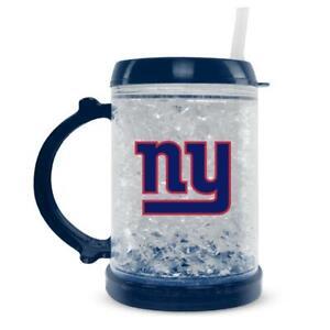NFL NEW YORK GIANTS JUNIOR FREEZER GLASS MUG WITH STRAW PLASTIC NEW