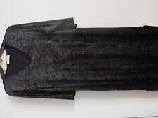 Louis Feraud LIngerie designer black silver metallic velvet long dress S