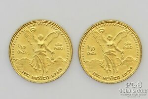 2- 1992 Mexico 1/10 Onza Gold Coins 22596