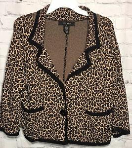 Nine West Leopard Leopard Print Sweater Blazer Cardigan Jacket Size Small