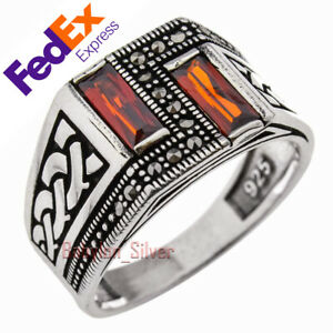 925 Sterling Silver Turkish Handmade Faceted Ruby Luxury Men's Ring All Sizes