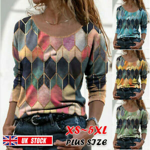 Plus Size Womens Blouse Boho Print Retro Tunic Pullover Loose Casual Ladies Tops