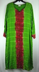 Vtg 1990 Indian Dress Boho Hippie Green Red Sequins Studs Lining Size Medium H92