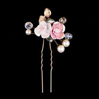 Vintage Wedding Bridal Pearl Flower Crystal Hair Pins Bridesmaid Clips Side Comb