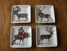 Pottery Barn Christmas Silly Stag/Reindeer Appetizer/Salad plates-Mixed set of 4