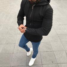 UK New Plain Mens Hoodie Pleated Zip Up Hoody Jacket Sweatshirt Hooded Coat Tops