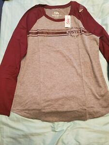 Justice gray and burgundy  long sleeve  shirt  size  16/18