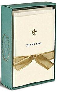 Boxed thank you cards with Gold Foil Fleur de Lis - Box of 10 cards & envelopes