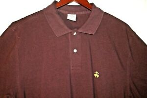 BROOKS BROTHERS Polo Shirt Sport Golf Mens Large Burgundy 2 Button Perfect 74
