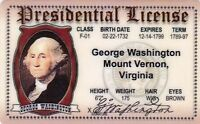 GEORGE WASHINGTON President of the United States ID card Drivers License