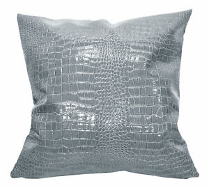 pd1005a Grey Faux Crocodile Glossy Leather Cushion Cover/Pillow Case*Custom Siz