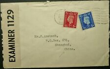 GB 20 AUG 1940 WWII CENSORED COVER FROM LONDON TO SHANGHAI, CHINA - CENSORED