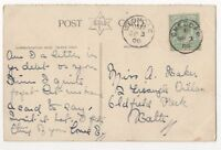 Cheddar [B] & Wedmore 3 Sep 1906 Single Ring Postmarks Somerset 843b