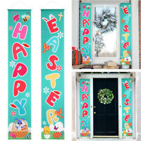 2PCS Happy Easter Porch Sign Banner Wall Decor Easter Decoration Party