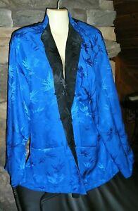 NWT CHICO'S 100% Silk Reversible Jacket Black/Cobalt Chico's Design $88 XL Sz 3