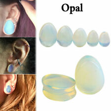 PAIR of Opal Center 14kt Gold Plated Tribal Shield Top Steel Screw Fit Tunnel Plugs
