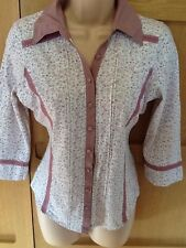 NEXT 10 vgc pink white floral jersey fitted shirt blouse top