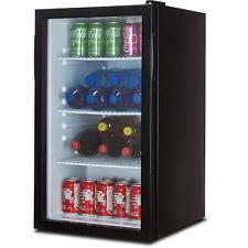 Beverage Wine Cooler Chiller Rack Mini Refrigerator LED Light Beer Soda, Black