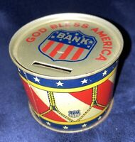 "Antique/Vintage J. Chein ""God Bless America"" Patriotic Tin Litho Drum Bank"