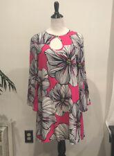 Trina Turk 100% silk Floral Bell sleeve dress size  8