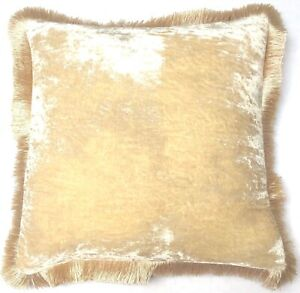 Anke Drechsel Pillow PLAIN Fringe Champagne Silk Velvet Cushion Almohad'a Kissen