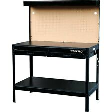 Tough Multi Purpose Workbench Table W/ LED Light Steel Frame Garage Tool Storage
