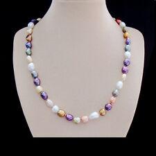 Barock Perlen weiß rosa lila grün blau Kette Halskette Collier Silber plattiert
