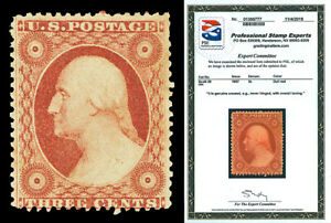 Scott 26 1857 3c Washington Perforated Issue Type III Mint Fine NH with PSE CERT