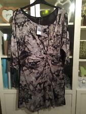 W90 f&f plus Sz 22 Gris & Noir Twist Drape Robe Tunique Neuf Avec Étiquettes