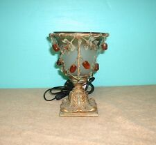 TABLE LAMPS GLASS METAL CERAMIC BRONZE COLORED FINISH WHICT GLASS GREEN LEAFS