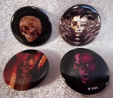 4 Gothic Buttons 2,5 cm Mini Pin Schädel Button Anstecker Deko GOR 76/7133 M3