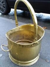 BRASS METAL COAL SCUTTLE FOR OPEN LOG OR COAL FIRE