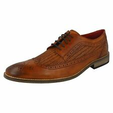 Mens Base London Durham Lace up Tan Leather Weaved Formal Brogues Shoes UK 8