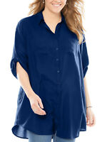 Womens plus size 18 20 22 24 Top Blue Navy shirt extra long tab sleeve loose fit