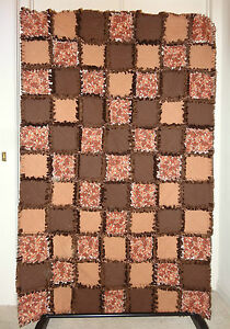 "Gingerbread Men Cookies Brown Flannel Rag Quilt 43""x67"" Soft / Comfy Solid Brown"