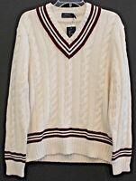 Polo Ralph Lauren Mens Cream Cotton Cashmere V-Neck Sweater NWT $179 Size L