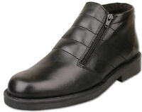 Mens Black Twin Zip Leather Fur Lined Winter Ankle Boots Size 6 7 8 9 10 11 12