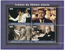 Chad 2018 MNH 20th c Icons Sheetlet, 4 x f500 Vals, Elvis, JFK, Churchill