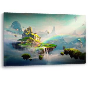 Fantasy Islands Rainbow Sun Cartoon Framed Canvas Wall Art Picture Print