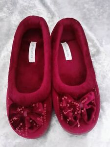Ladies Shuropody Wine Coloured Slippers Bow Sequinns Size 5 (EU38) NEW