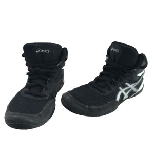 Asics BOYS Size 1 MATFLEX 6 Black/White Wrestling MMA Lift Shoes F130720