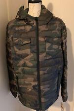 $160 Retail Levi's Men's Hooded Winter Puffer Jacket Coat Camo Ultra Loft L NWT