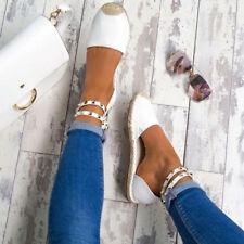 Women Summer Beach Flat Sandals Ankle Strap Espadrilles Studded Shoes Size 5-9.5
