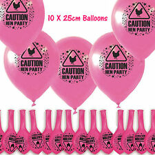New 10pcs Caution Hens Party Night Balloons Pink Bachelorette Fancy Girls Theme