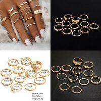 Lot 12Pcs Vintage Gold Boho Midi Finger Knuckle Rings Women Fashion Jewelry Gift