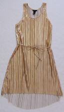 H&M gold pleated dress with belt midi SIZE XS/XSMALL/34