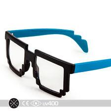 New Neon Blue Trendy Dual Color Party Clear Lens 8-Bit Bitmap Glasses 8 Bit S068