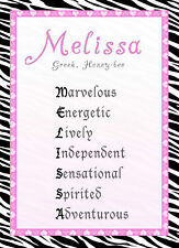 Any Name Art Print Girl Room Nursery Hot Pink Zebra Poster Baby Shower Gift